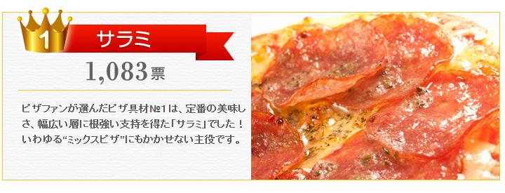 """ピザファンが選んだピザ具材№1は、定番の美味しさ、幅広い層に根強い支持を得た「サラミ」でした!いわゆる""""ミックスピザ""""にもかかせない主役です。"""